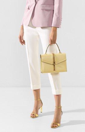 Женская сумка sylvie 1969 small GUCCI желтого цвета, арт. 602781/1DB0G   Фото 2 (Размер: small; Материал: Натуральная кожа; Ремень/цепочка: На ремешке; Сумки-технические: Сумки top-handle, Сумки через плечо)