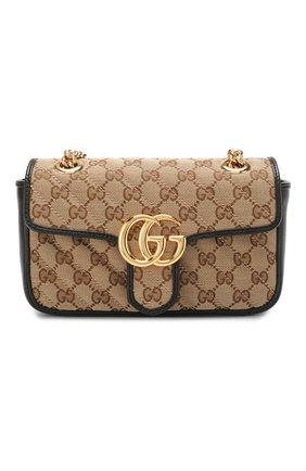 Женская сумка gg marmont mini GUCCI черного цвета, арт. 446744/HVKEG | Фото 1