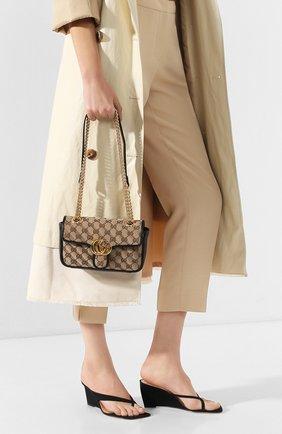 Женская сумка gg marmont mini GUCCI черного цвета, арт. 446744/HVKEG | Фото 2