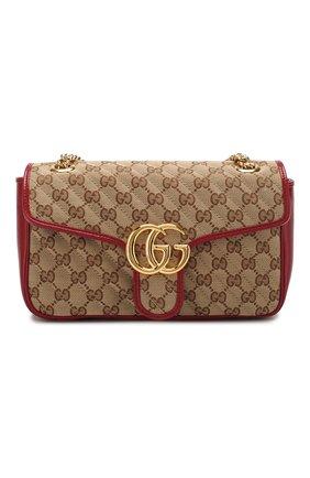 Женская сумка gg marmont small GUCCI красного цвета, арт. 443497/HVKEG | Фото 1