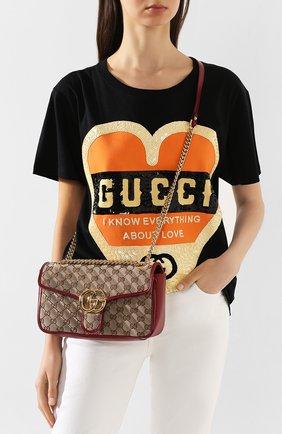 Женская сумка gg marmont small GUCCI красного цвета, арт. 443497/HVKEG | Фото 2