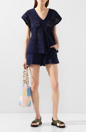 Женские шорты из смеси вискозы и льна LISE CHARMEL синего цвета, арт. ASA01A5 | Фото 2 (Материал внешний: Лен; Длина Ж (юбки, платья, шорты): Мини; Стили: Кэжуэл; Женское Кросс-КТ: Шорты-одежда)