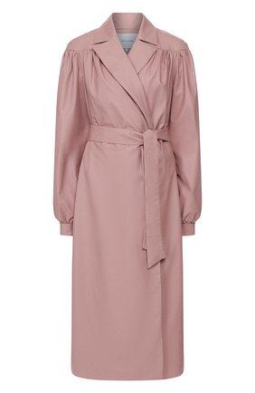 Женское пальто с поясом LESYANEBO розового цвета, арт. SS20/H-258A   Фото 1