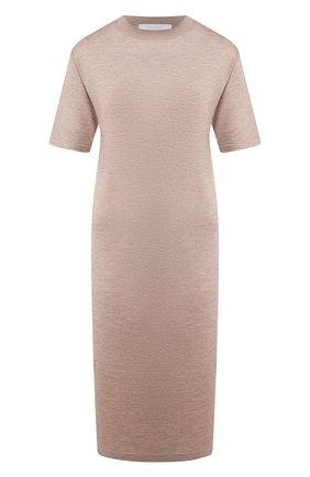 Женское платье из смеси кашемира и шелка CRUCIANI бежевого цвета, арт. CD25.068 | Фото 1
