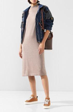 Женское платье из смеси кашемира и шелка CRUCIANI бежевого цвета, арт. CD25.068 | Фото 2