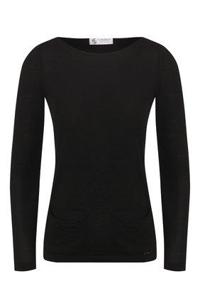 Женский пуловер из смеси кашемира и шелка IL BORGO CASHMERE черного цвета, арт. 55-1031 | Фото 1 (Длина (для топов): Стандартные; Рукава: Длинные; Материал внешний: Шелк, Шерсть; Стили: Кэжуэл, Классический, Минимализм; Женское Кросс-КТ: Пуловер-одежда)