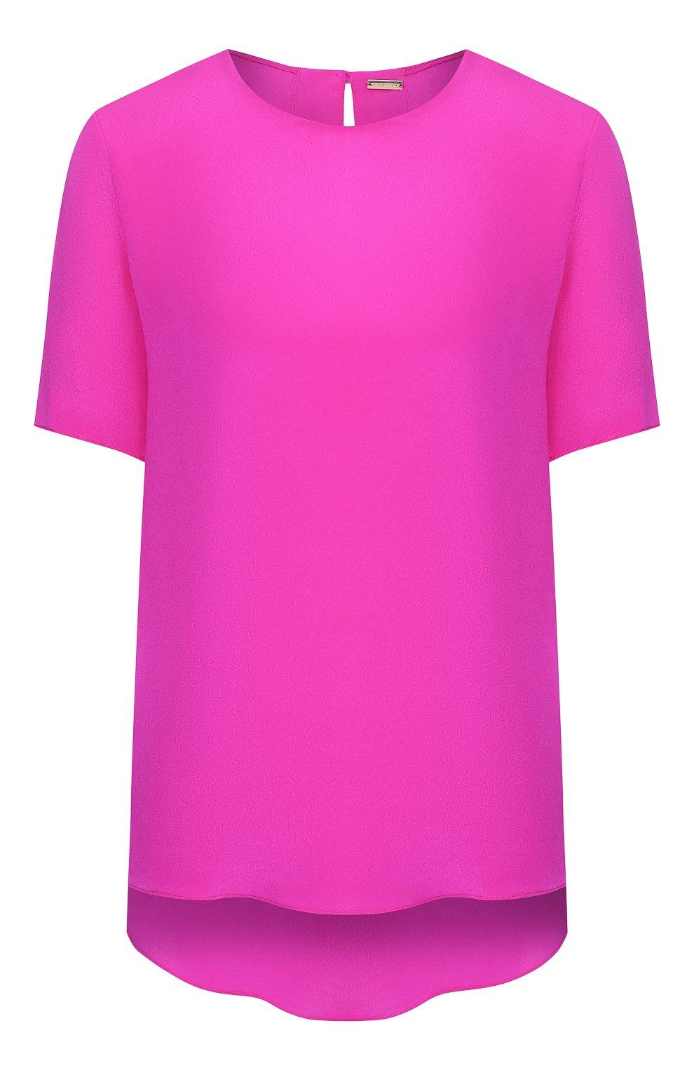 Женский шелковый топ ADAM LIPPES фуксия цвета, арт. R20101SE | Фото 1 (Материал внешний: Шелк; Рукава: Короткие; Длина (для топов): Стандартные; Кросс-КТ: с рукавом)
