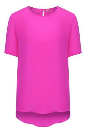 Женский шелковый топ ADAM LIPPES фуксия цвета, арт. R20101SE | Фото 1 (Длина (для топов): Стандартные; Материал внешний: Шелк; Рукава: Короткие; Кросс-КТ: с рукавом)