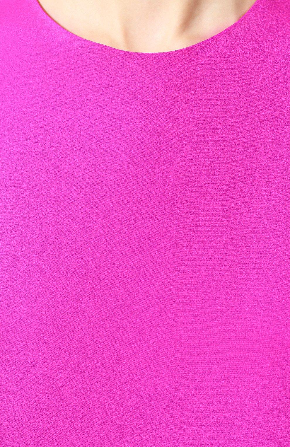 Женский шелковый топ ADAM LIPPES фуксия цвета, арт. R20101SE | Фото 5 (Материал внешний: Шелк; Рукава: Короткие; Длина (для топов): Стандартные; Кросс-КТ: с рукавом)