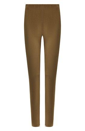 Женские замшевые брюки-скинни RALPH LAUREN хаки цвета, арт. 290618851 | Фото 1