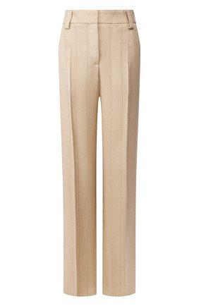 Женские шелковые брюки GIORGIO ARMANI бежевого цвета, арт. 0SHPP09M/T01HS   Фото 1