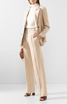 Женские шелковые брюки GIORGIO ARMANI бежевого цвета, арт. 0SHPP09M/T01HS   Фото 2