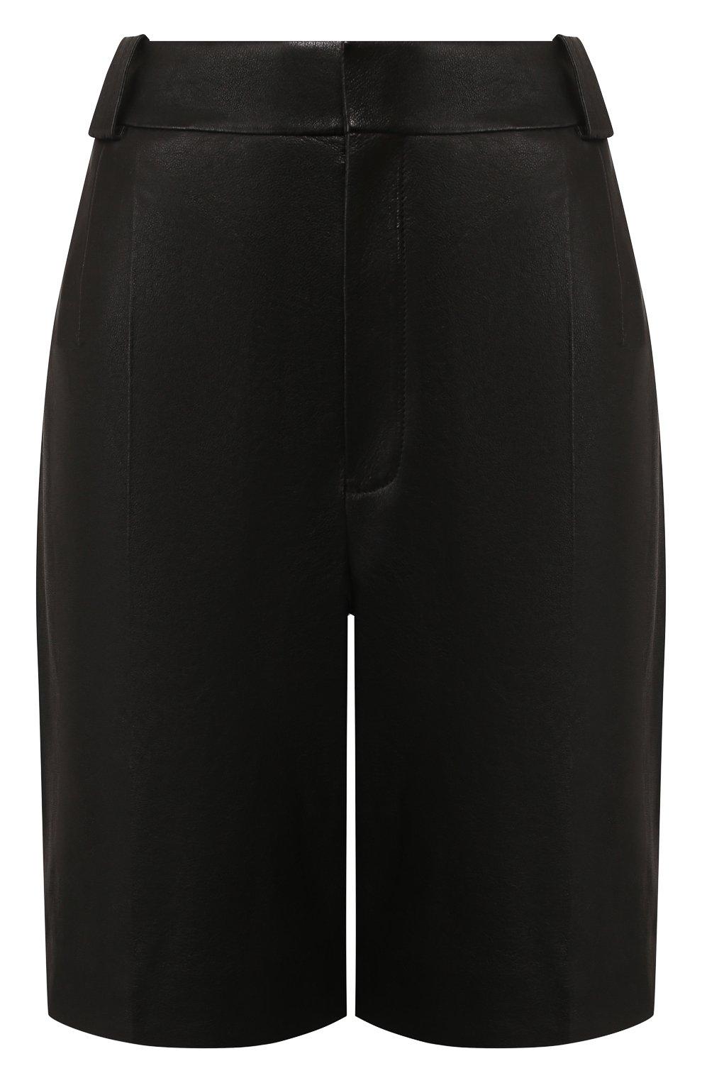 Женские кожаные шорты SAINT LAURENT черного цвета, арт. 615750/YC2IF | Фото 1