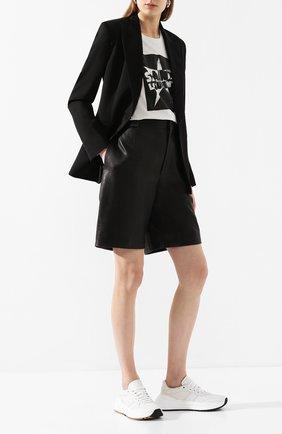 Женские кожаные шорты SAINT LAURENT черного цвета, арт. 615750/YC2IF | Фото 2