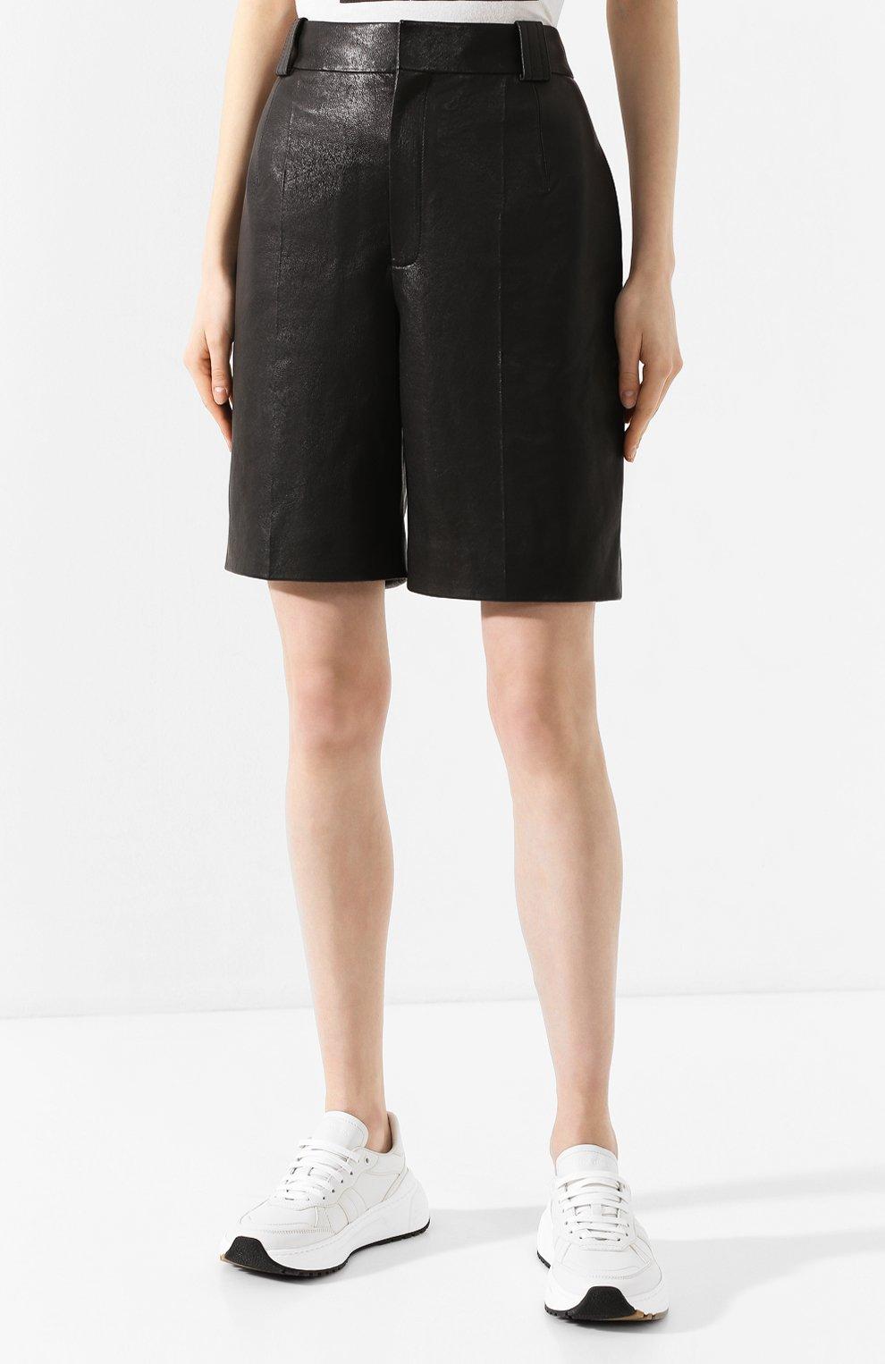 Женские кожаные шорты SAINT LAURENT черного цвета, арт. 615750/YC2IF | Фото 3