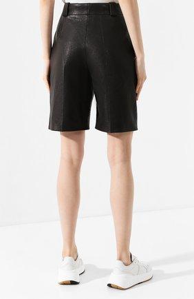 Женские кожаные шорты SAINT LAURENT черного цвета, арт. 615750/YC2IF | Фото 4