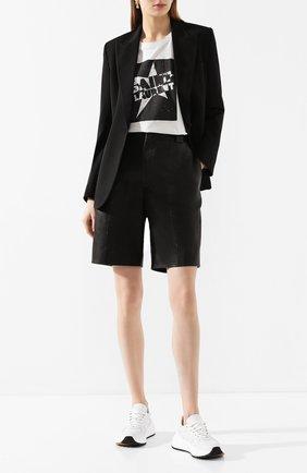 Женская хлопковая футболка SAINT LAURENT черного цвета, арт. 614274/YBRU2 | Фото 2