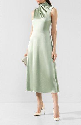 Женское шелковое платье BRANDON MAXWELL светло-зеленого цвета, арт. DR191PS20 | Фото 2