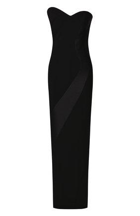 Женское платье-макси BRANDON MAXWELL черного цвета, арт. GN145PS20 | Фото 1