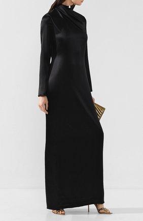 Женское шелковое платье BRANDON MAXWELL черного цвета, арт. GN148PS20 | Фото 2
