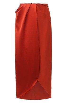 Женская шелковая юбка BRANDON MAXWELL бронзового цвета, арт. SK110PS20 | Фото 1