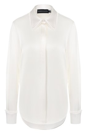 Женская шелковая рубашка BRANDON MAXWELL белого цвета, арт. TP232PS20 | Фото 1