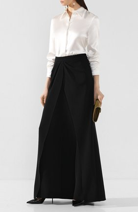 Женская шелковая рубашка BRANDON MAXWELL белого цвета, арт. TP232PS20 | Фото 2