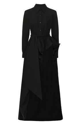 Женская удлиненная блузка BRANDON MAXWELL черного цвета, арт. TP242PS20 | Фото 1