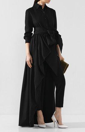Женская удлиненная блузка BRANDON MAXWELL черного цвета, арт. TP242PS20 | Фото 2