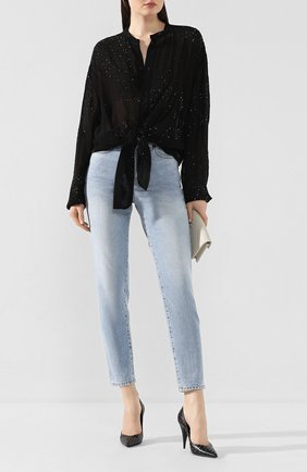 Женская рубашка из вискозы SAINT LAURENT черного цвета, арт. 611913/Y241S | Фото 2