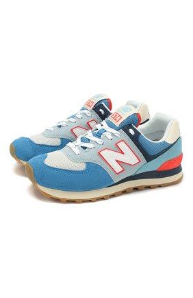 Детские кроссовки 574 NEW BALANCE голубого цвета, арт. ML574SOS/D   Фото 1 (Материал внутренний: Текстиль)