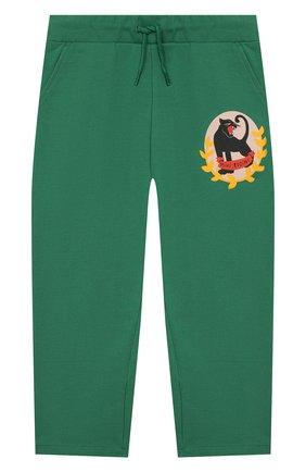 Детские хлопковые брюки MINI RODINI зеленого цвета, арт. 20230157 | Фото 1