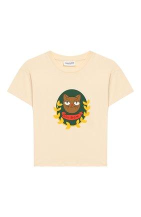 Детская хлопковая футболка MINI RODINI белого цвета, арт. 20220137 | Фото 1