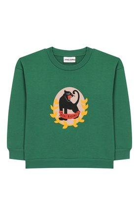 Детский хлопковый свитшот MINI RODINI зеленого цвета, арт. 20220154 | Фото 1