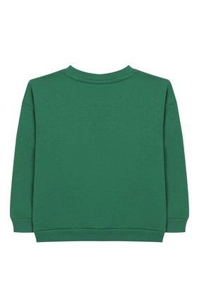 Детский хлопковый свитшот MINI RODINI зеленого цвета, арт. 20220154 | Фото 2