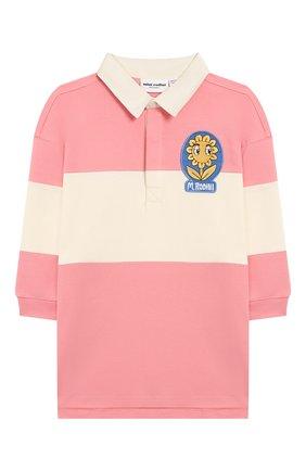 Детское хлопковое платье MINI RODINI розового цвета, арт. 20250133 | Фото 1