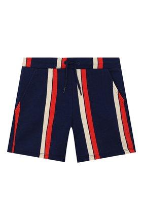 Детские хлопковые шорты MINI RODINI синего цвета, арт. 20230147 | Фото 1