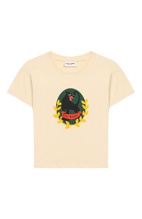 Детская хлопковая футболка MINI RODINI белого цвета, арт. 20220138 | Фото 1