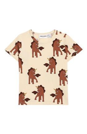 Детская хлопковая футболка MINI RODINI белого цвета, арт. 20220120 | Фото 1