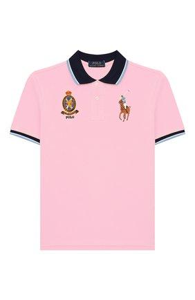 Детское хлопковое поло POLO RALPH LAUREN розового цвета, арт. 321786337   Фото 1