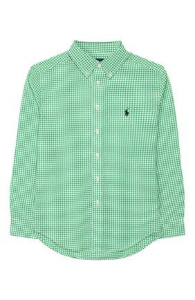 Детская хлопковая рубашка RALPH LAUREN зеленого цвета, арт. 321785622   Фото 1