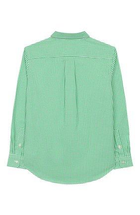 Детская хлопковая рубашка RALPH LAUREN зеленого цвета, арт. 321785622   Фото 2