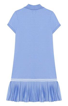 Детское хлопковое платье POLO RALPH LAUREN голубого цвета, арт. 311783903   Фото 2 (Материал внешний: Хлопок; Случай: Повседневный; Рукава: Короткие; Девочки Кросс-КТ: Платье-одежда)