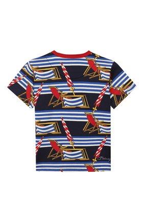 Детский хлопковая футболка DOLCE & GABBANA синего цвета, арт. L1JT6S/HS7AZ | Фото 2
