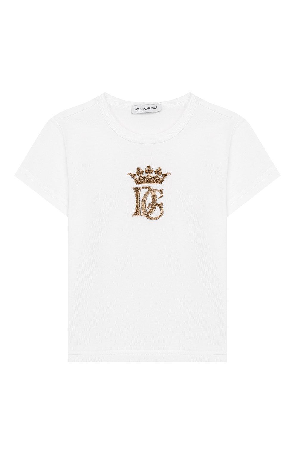 Детский хлопковая футболка DOLCE & GABBANA белого цвета, арт. L1JT6S/G7WGB   Фото 1 (Рукава: Короткие; Материал внешний: Хлопок)