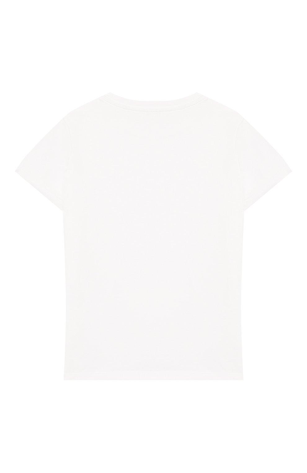Детский хлопковая футболка DOLCE & GABBANA белого цвета, арт. L1JT6S/G7WGB   Фото 2 (Рукава: Короткие; Материал внешний: Хлопок)