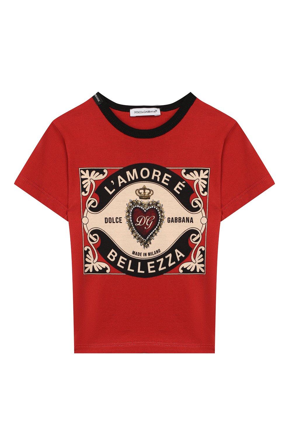 Детский хлопковая футболка DOLCE & GABBANA красного цвета, арт. L1JT6S/G7VL0   Фото 1
