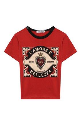 Детский хлопковая футболка DOLCE & GABBANA красного цвета, арт. L1JT6S/G7VL0 | Фото 1