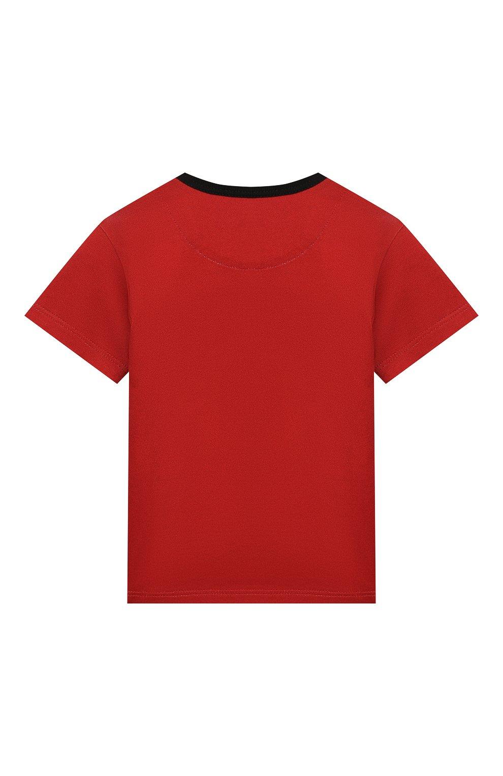 Детский хлопковая футболка DOLCE & GABBANA красного цвета, арт. L1JT6S/G7VL0   Фото 2