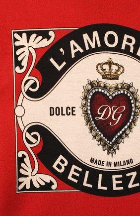 Детский хлопковая футболка DOLCE & GABBANA красного цвета, арт. L1JT6S/G7VL0   Фото 3